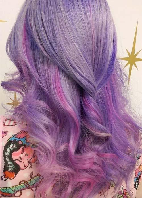 Фиолетовые и лавандовые волосы: идеи окрашивания