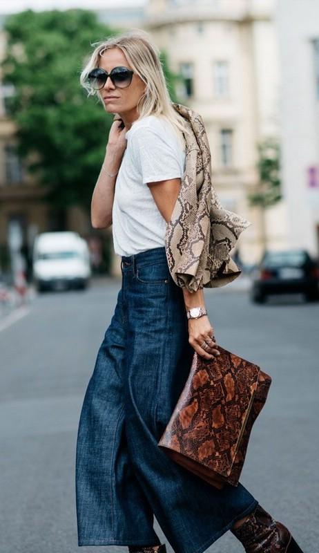 Как носить джинсовые кюлоты