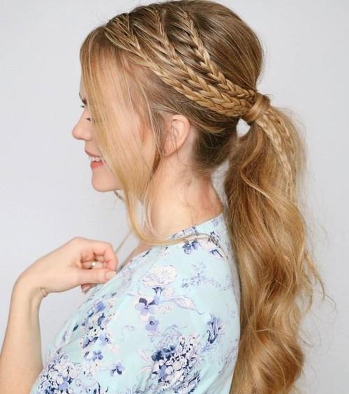 Конский хвост + французская коса