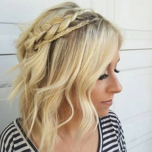 Плетёные прически для коротких волос